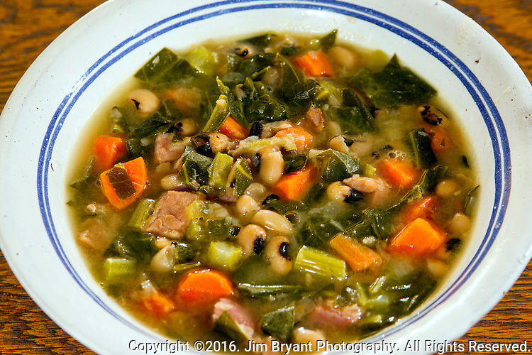 Black-eyed peas with fresh vegetables, carrots, collards, onions, celery and ham.  A New Year's Tradition. ©2016.  Jim Bryant Photo. All Rights Reserved.