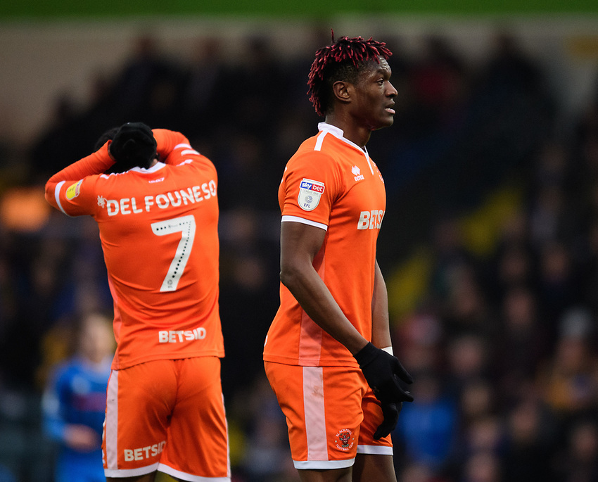 Blackpool's Armand Gnanduillet reacts after missing a first half chance<br /> <br /> Photographer Chris Vaughan/CameraSport<br /> <br /> The EFL Sky Bet League One - Rochdale v Blackpool - Wednesday 26th December 2018 - Spotland Stadium - Rochdale<br /> <br /> World Copyright © 2018 CameraSport. All rights reserved. 43 Linden Ave. Countesthorpe. Leicester. England. LE8 5PG - Tel: +44 (0) 116 277 4147 - admin@camerasport.com - www.camerasport.com