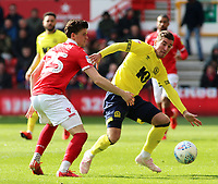 Nottingham Forest's Sam Byram battles with Blackburn Rovers' Joe Rothwell<br /> <br /> Photographer David Shipman/CameraSport<br /> <br /> The EFL Sky Bet Championship - Nottingham Forest v Blackburn Rovers - Saturday 13th April 2019 - The City Ground - Nottingham<br /> <br /> World Copyright © 2019 CameraSport. All rights reserved. 43 Linden Ave. Countesthorpe. Leicester. England. LE8 5PG - Tel: +44 (0) 116 277 4147 - admin@camerasport.com - www.camerasport.com
