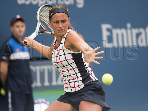 31.08.2015. New York, NY, USA.  Monica Puig of Puerto Rico in action during the US Open, played at the Billie Jean King Tennis Center, Flushing Meadow NY.