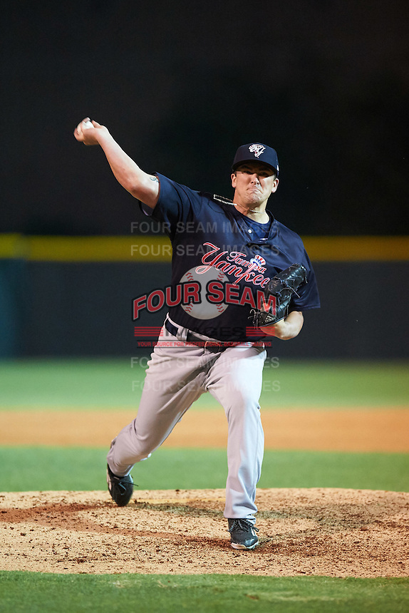 Tampa Yankees relief pitcher Jonathan Holder (52) delivers a pitch during a game against the Lakeland Flying Tigers on April 7, 2016 at Henley Field in Lakeland, Florida.  Tampa defeated Lakeland 9-2.  (Mike Janes/Four Seam Images)
