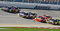 Four packs of 2 cars race 4 wide late in the Aaron's 499 at Talladega Superspeedway, Talladega, AL, April 17, 2011.  (Photo by Brian Cleary/www.bcpix.com)
