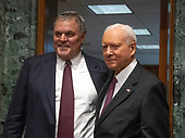 Charles P. Rettig, left, poses for a photo next to United States Senator Orrin Hatch (Republican of Utah), right, Chairman, US Senate Committee on Finance, before giving testimony on his nomination to be Commissioner Of Internal Revenue (IRS) on Capitol Hill in Washington, DC on Thursday, June 28, 2018.  Senator Hatch also serves as the president pro tempore of the Senate.<br /> Credit: Ron Sachs / CNP