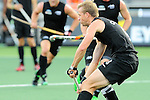The Hague, Netherlands, June 10: Dean Couzins #8 of New Zealand defends during the match during the field hockey group match (Men - Group B) between New Zealand and The Netherlands on June 10, 2014 during the World Cup 2014 at Kyocera Stadium in The Hague, Netherlands. Final score 1-1 (0-1) (Photo by Dirk Markgraf / www.265-images.com) *** Local caption ***