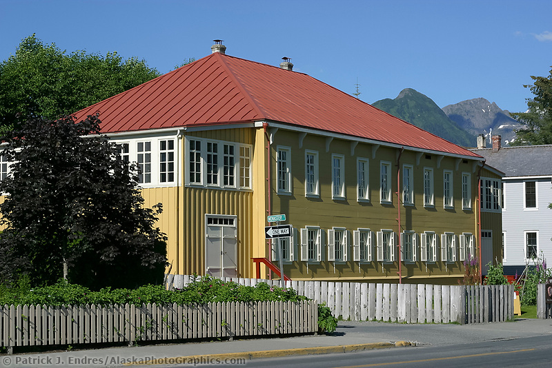 RUSSIAN BISHOP'S HOUSE, oldest intact Russian building in Sitka, Alaska, built in 1842, by the Russian American Company as a residence for the Bishop of the Orthodox Church. Bishop Innocent (Ivan Veniaminov) was its first resident. Restored to the 1850's historic period when it functioned as a school, Bishop's residence, and a chapel. Registered as a National Historic Landmark.