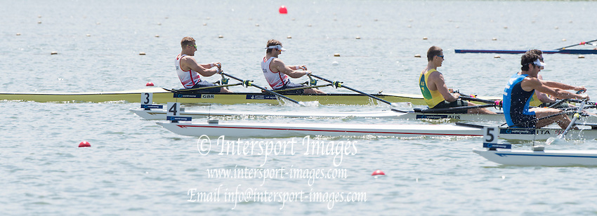 Varese. ITALY.   GBR M2X smi final A/B, John COLLINS and Jonny WALTON,  2015 FISA World Cup II Venue Lake Varese. Saturday  20/06/2015 [Mandatory Credit: Peter Spurrier/Intersport images]