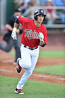 Elizabethton Twins right field Alex Kirilloff (30) runs to first base during a game against the Bristol Pirates at Joe O'Brien Field on July 30, 2016 in Elizabethton, Tennessee. The Twins defeated the Pirates 6-3. (Tony Farlow/Four Seam Images)