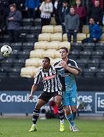 Genaro Snijders of Notts County & Stephen McGinn of Wycombe Wanderers watch the ball during the Sky Bet League 2 match between Notts County and Wycombe Wanderers at Meadow Lane, Nottingham, England on 28 March 2016. Photo by Andy Rowland.