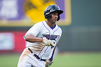 Johan Cruz (5) of the Winston-Salem Dash hustles towards home plate against the Myrtle Beach Pelicans at BB&T Ballpark on May 11, 2017 in Winston-Salem, North Carolina.  The Pelicans defeated the Dash 9-7.  (Brian Westerholt/Four Seam Images)