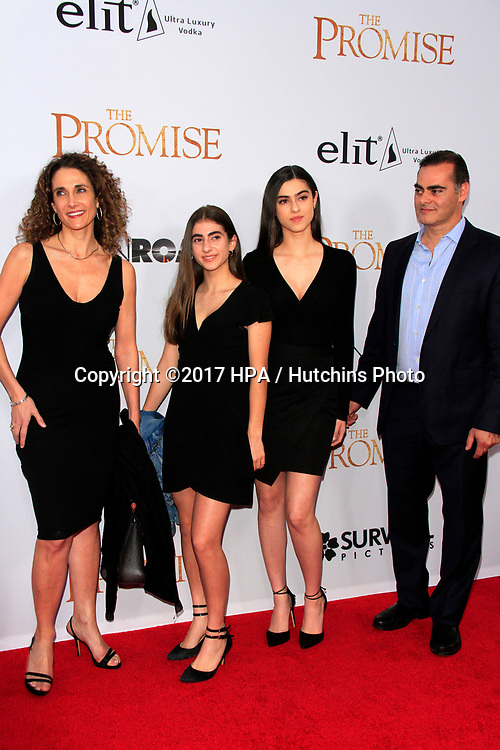 "LOS ANGELES - APR 12:  Melina Kanakaredes, daughters, husband at the ""The Promise"" Premiere at the TCL Chinese Theater IMAX on April 12, 2017 in Los Angeles, CA"