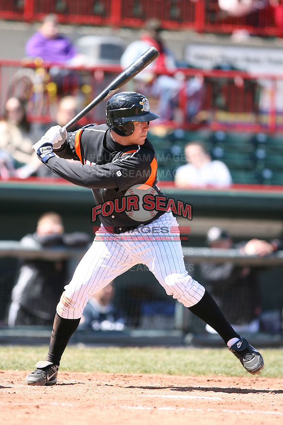 April 15th 2008:  Outfielder Jeff Frazier (35) of the Erie Seawolves, Class-AA affiliate of the Detroit Tigers, during a game at Jerry Uht Park in Erie, PA.  Photo by:  Mike Janes/Four Seam Images