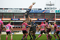 Tom Ellis of Bath Rugby rises high to win lineout ball. Anglo-Welsh Cup Final, between Bath Rugby and Exeter Chiefs on March 30, 2018 at Kingsholm Stadium in Gloucester, England. Photo by: Patrick Khachfe / Onside Images