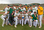 The Bishop Manogue team celebrates their win over Reno in the NIAA 4A Northern Regional Baseball Championship at Galena High School in Reno, Nevada on Saturday, May 12, 2018.