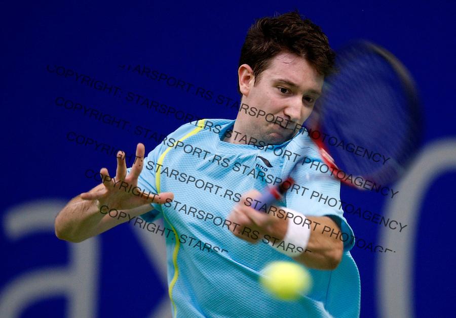 Tennis.Gemax Open 2010.Ilija Bozoljac Vs. Alex Bogdanovic (GBR).Alex Bogdanovic returnes.Belgrade, 20.02.2010..foto: Srdjan Stevanovic©