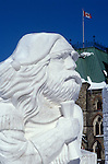 Snow sculpture, Jean-Baptiste Lagimodiere, one of first French-Canadians to settle permanently in Red River Region of Manitoba, Canada