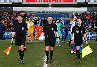 Todays match Officials lead the team out for todays match<br /> <br /> Photographer Rachel Holborn/CameraSport<br /> <br /> The EFL Sky Bet League One - Blackburn Rovers v Blackpool - Saturday 10th March 2018 - Ewood Park - Blackburn<br /> <br /> World Copyright &copy; 2018 CameraSport. All rights reserved. 43 Linden Ave. Countesthorpe. Leicester. England. LE8 5PG - Tel: +44 (0) 116 277 4147 - admin@camerasport.com - www.camerasport.com