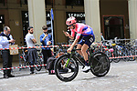 EF Education First riders head out for a practice run before Stage 1 of the 2019 Giro d'Italia, an individual time trial running 8km from Bologna to the Sanctuary of San Luca, Bologna, Italy. 11th May 2019.<br /> Picture: Eoin Clarke | Cyclefile<br /> <br /> All photos usage must carry mandatory copyright credit (© Cyclefile | Eoin Clarke)