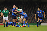 Luke Fitzgerald of Ireland is sandwwiched between Rémi Talès  and Alexandre Dumoulin of France during Match 39 of the Rugby World Cup 2015 between France and Ireland - 11/10/2015 - Millennium Stadium, Cardiff<br /> Mandatory Credit: Rob Munro/Stewart Communications