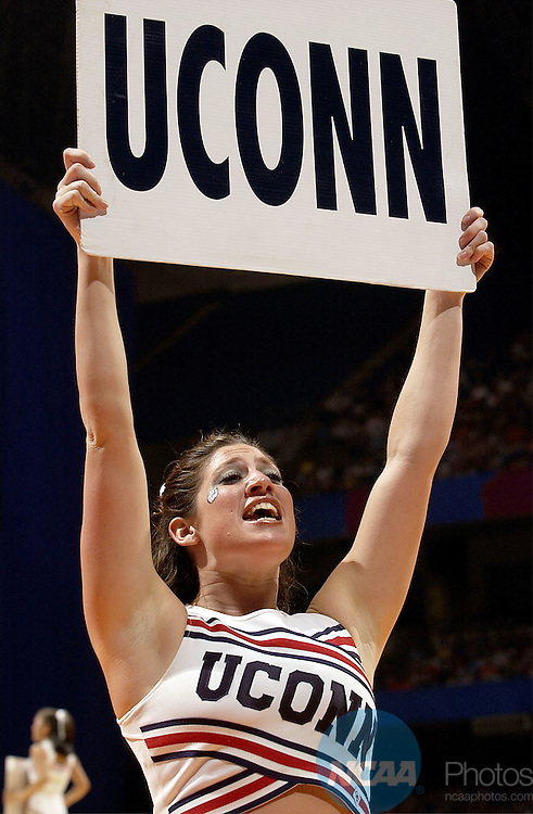 29 MAR 2002:  UCONN cheerleaders root on their team against the University of Tennessee during their Division 1 Women's Basketball Semifinal game held at the Alamodome in San Antonio, TX.  UCONN defeated Tennessee 79-56 to advance to the national title game.  Jamie Schwaberow/NCAA Photos