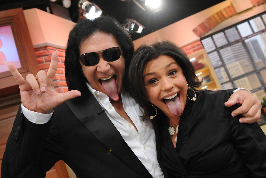 Rachael Ray talks with Gene Simmons during the production of an episode of The Rachael Ray Show in New York on Thursday, February 28, 2007..Photo: David M. Russell.©2008 David M. Russell. All Rights Reserved