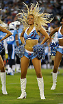 NASHVILLE, TN - AUGUST 24:   Tennessee Titans cheerleader Tandra dances during a timeout of a game between the Tennessee Titans and the Atlanta Falconsat LP Field on August 24, 2013 in Nashville, Tennessee.  (Photo by Frederick Breedon/Getty Images)