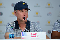 Davis Love III (USA) listens to a question during round 1 player selection for the 2017 President's Cup, Liberty National Golf Club, Jersey City, New Jersey, USA. 9/27/2017.<br /> Picture: Golffile   Ken Murray<br /> <br /> <br /> All photo usage must carry mandatory copyright credit (&copy; Golffile   Ken Murray)