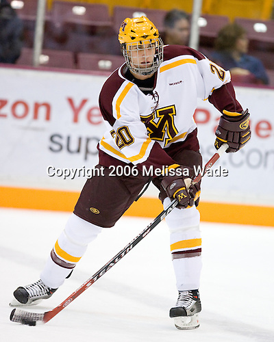 David Fischer (University of Minnesota - Apple Valley, MN) warms up. The University of Minnesota Golden Gophers defeated the Michigan State University Spartans 5-4 on Friday, November 24, 2006 at Mariucci Arena in Minneapolis, Minnesota, as part of the College Hockey Showcase.