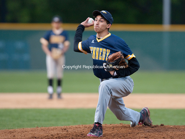 WATERBURY,  CT-051217JS11- Ivan Meraz (9) delivers a pitch during their game against Sacred Heart Friday at Municipal Stadium in Waterbury. <br />   Jim Shannon Republican-American
