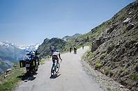 Pierre Latour (FRA/AG2R-La Mondiale) getting dropped <br /> <br /> stage 7: Aoste &gt; Alpe d'Huez (168km)<br /> 69th Crit&eacute;rium du Dauphin&eacute; 2017
