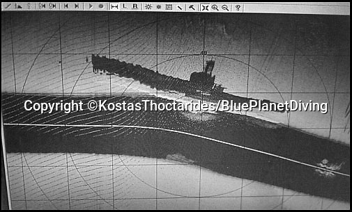 BNPS.co.uk (01202 558833)<br /> Pic: KostasThoctarides/BNPS<br /> <br /> The noted Greek diver and wreck hunter Kostas Thoctarides found another British submarine HMS Perseus off Ithaca using side sonar.<br /> <br /> The relatives of the crew of a lost British submarine have gathered together to mark the 77th anniversary of their deaths and are determined to finally track down their watery tomb...<br /> <br /> Poignantly, the families met up on HMS Alliance, the only remaining WW2 era British submarine based at the Royal Navy's submarine museum in Gosport.<br /> <br /> Royal Navy submarine HMS Triumph is thought to have been sunk by a German mine whilst on a top secret mission in the Aegean on the 9th of January 1942, but their final resting place has never been found.<br /> <br /> They were traced and brought together by Gav Don, who is on a one-man mission to find the wreck of the submarine that is somewhere in the <br /> Aegean Sea.<br /> <br /> The former Royal Navy officer's uncle Robert Douglas-Don died with the rest of the 62-strong crew in January 1942.<br /> <br /> At the time the submarine was on a top secret mission to recover 18 escaped Allied soldiers from a remote Greek island.