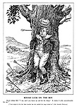 """Rough Luck on the Boy. Master Johnny Bull. """"I say, can't you hurry up and hit the thing? It makes it jolly uncomfortable for me!"""" [""""Coal output in the last three months has not reached the target aimed at."""" Sir Andrew Duncan.] (Great Britain balances the large Coal Requirement on its head while the arrows miss their target wildly)"""
