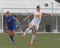 Allston, Massachusetts - August 3, 2014: First half action. In a National Women's Soccer League (NWSL) match, Boston Breakers (blue) vs Western New York Flash (white), 1-1 (halftime), at Harvard Stadium.