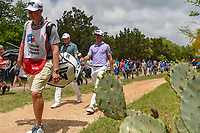 Jordan Spieth (USA) and Billy Horschel (USA) make their way to the tee on 2 during day 1 of the Valero Texas Open, at the TPC San Antonio Oaks Course, San Antonio, Texas, USA. 4/4/2019.<br /> Picture: Golffile | Ken Murray<br /> <br /> <br /> All photo usage must carry mandatory copyright credit (© Golffile | Ken Murray)