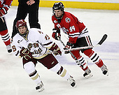 Joe Whitney (BC - 15), Tyler McNeely (NU - 94) - The Northeastern University Huskies defeated the Boston College Eagles 3-2 in overtime on BC's senior night, Friday, March 7, 2008, at Conte Form in Chestnut Hill, Massachusetts.