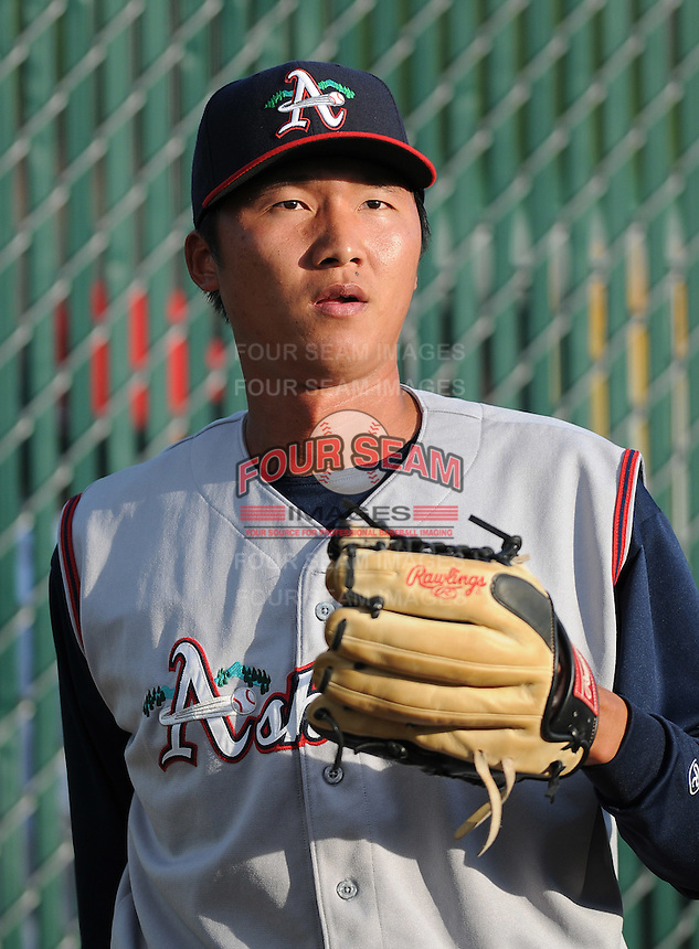 April 24, 2008: RHP Sheng-An Kuo (28) of the Asheville Tourists, Class A affiliate of the Colorado Rockies, prior to a game against the Greenville Drive at Fluor Field at the West End in Greenville, S.C. Photo by:  Tom Priddy/Four Seam Images