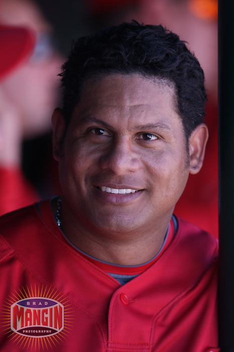TEMPE, AZ - FEBRUARY 25:  Portrait of Bobby Abreu of the Los Angeles Angels of Anaheim during their spring training game against the Chicago White Sox at Tempe Diablo Stadium in Tempe, Arizona on February 25, 2009.  Photo by Brad Mangin