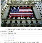 New York Stock Exchange with American flag, New York City, New York, USA.