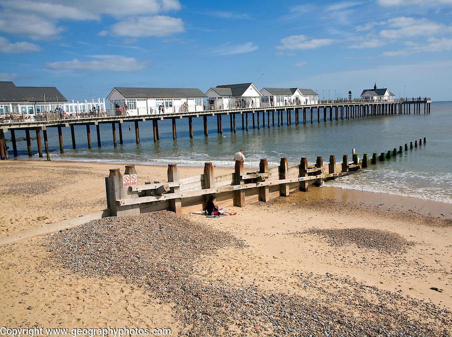 Pier and beach, Southwold, Suffolk, England