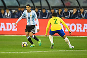 June 9th 2017, Melbourne Cricket Ground, Melbourne, Australia; International Football Friendly; Brazil versus Argentina; Angel Fabian Dimara of Argentina takes on Fagner Lemos of  of Brazil during the first half