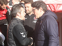 Fleetwood Town's Manager Joey Barton greets Luton Town's Manager Mick Harford<br /> <br /> Photographer Mick Walker/CameraSport<br /> <br /> The EFL Sky Bet League One - Fleetwood Town v Luton Town - Saturday 16th February 2019 - Highbury Stadium - Fleetwood<br /> <br /> World Copyright © 2019 CameraSport. All rights reserved. 43 Linden Ave. Countesthorpe. Leicester. England. LE8 5PG - Tel: +44 (0) 116 277 4147 - admin@camerasport.com - www.camerasport.com