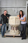 David Caffrey and Maria Flood with the Baptismal Font which has been cleaned up at Caffreys Monumental Works and will now be placed in St.Marys Church...Picture Jenny Matthews/Newsfile.ie