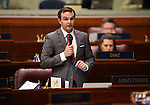 Nevada Assemblyman Derek Armstrong, R-Las Vegas, speaks on the Assembly floor at the Legislative Building in Carson City, Nev., on Tuesday, April 21, 2015. <br /> Photo by Cathleen Allison