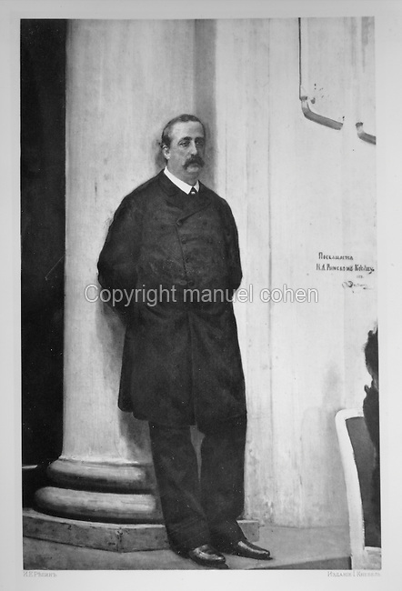 Alexander Borodin, 1833-87, Russian Romantic composer, Russian engraving, c. 1890, after a painting by Ilya Repin, 1844-1930, Russian Realist painter. Copyright © Collection Particuliere Tropmi / Manuel Cohen
