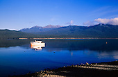 Looking across Lake Te Anau to the Kepler Mountains in the Fiordland National Park, South Island New Zealand.