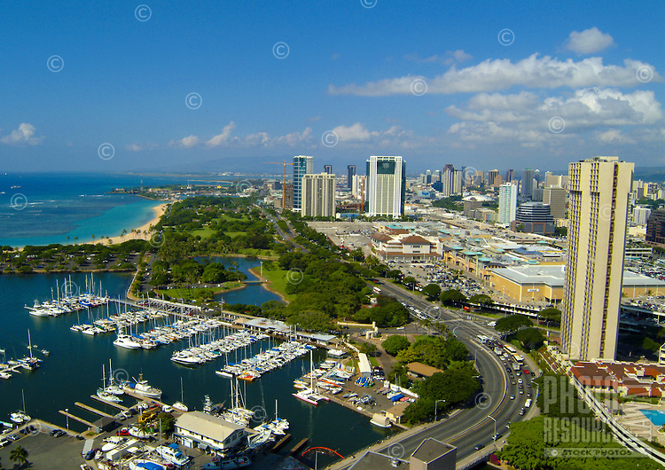 View of magic island and Ala Wai boat harbor with Ala moana shopping center and blvd. from above