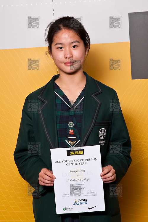 Girls Table Tennis winner Jennifer Tseng from St Cuthbert's College. ASB College Sport Auckland Secondary School Young Sports Person of the Year Awards held at Eden Park on Thursday 12th of September 2009.