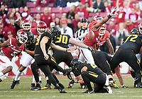 NWA Democrat-Gazette/CHARLIE KAIJO Missouri Tigers place kicker Tucker McCann (19) scores a field goal to give the Missouri Tigers the lead at the half during a football game on Friday, November 24, 2017 at Razorback Stadium in Fayetteville. Arkansas Razorbacks trail 28-31