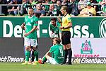 01.09.2019, wohninvest Weserstadion, Bremen, GER, 1.FBL, Werder Bremen vs FC Augsburg, <br /> <br /> DFL REGULATIONS PROHIBIT ANY USE OF PHOTOGRAPHS AS IMAGE SEQUENCES AND/OR QUASI-VIDEO.<br /> <br />  im Bild<br /> <br /> Schrecksekunde beiremen Michael Lang (Werder Bremen #04) wird nach einem Zweikamp an den Kopf getroffen und muss vonDr. Benjamin Schnee (Mannschaftsarzt Werder Bremen) behandelt werden <br /> Soeren Storks  (Schiedsrichter / referee)<br /> Maximilian Eggestein (Werder Bremen #35)<br /> Nuri Sahin (Werder Bremen #17)<br /> <br /> Foto © nordphoto / Kokenge