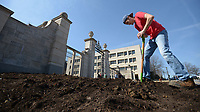 NWA Democrat-Gazette/ANDY SHUPE<br /> Samuel Emerson, a horticulture, landscape and turf sciences major and worker at the University of Arkansas from Bentonville, turns soil in beds near the Pi Beta Phi Centennial Gate on the university campus in Fayetteville in preparation for planned plantings. Emerson and other students in a landscape planning class worked together to create a landscape design that will include ginkgo trees to give the area color in the fall and to a softer, more detailed design to the area that serves as a formal entrance to campus.