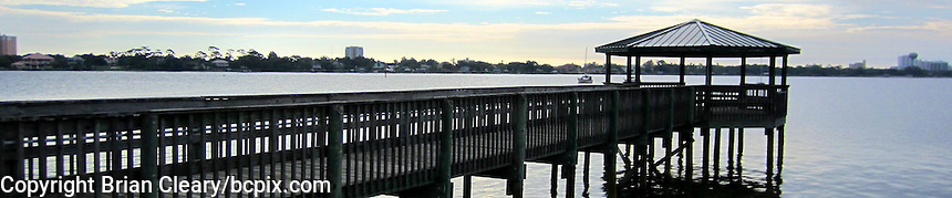 A dock and gazebo on the Halifax River in Holly Hill, FL.  (Photo by Brian Cleary/www.bcpix.com) 1200x250 pixels and 500x100 pixels available.